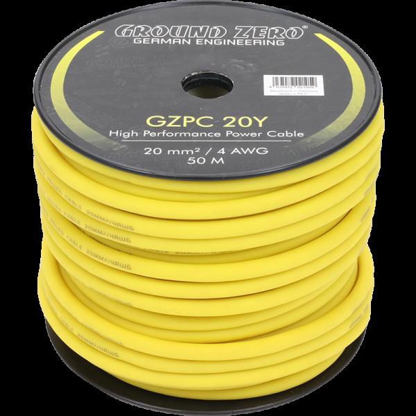 Ground Zero GZPC 20Y 20 mm² High-Quality CCA Stromkabel – gelb