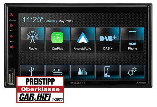 XZENT X-522 2Din DAB+ Infotainer mit CarPlay/GAA